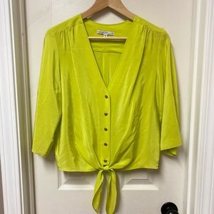 Amanda Uprichard Neon Silk Tie Front Button Top